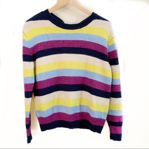 Halogen back bow stripped multicolor sweater M